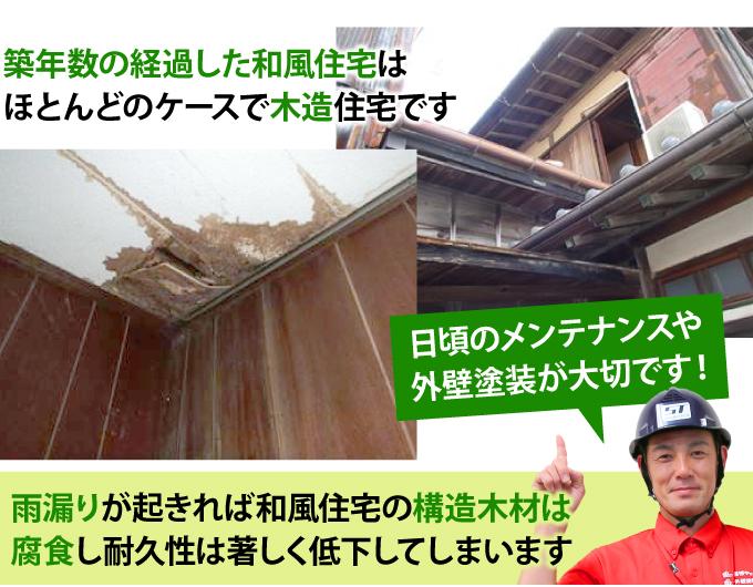 雨漏りが起きれば和風住宅の構造木材は腐食し耐久性は著しく低下