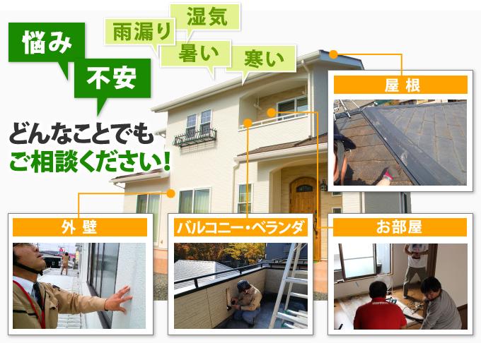 外壁、バルコニー、屋根の悩み・不安どんなことでもご相談ください