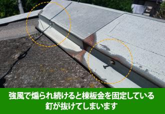 棟板金を固定している釘は強風で煽られ続けられると抜けてしまう