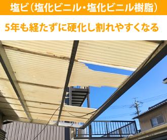 塩ビの屋根材の耐久性