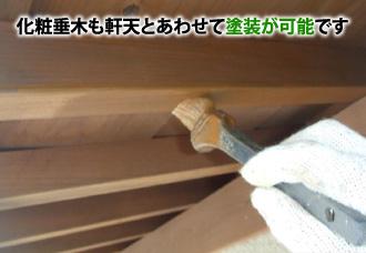 化粧垂木も軒天とあわせて塗装が可能