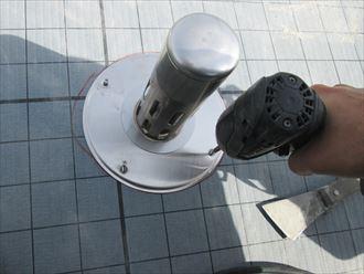 通気緩衝シートと脱気筒設置