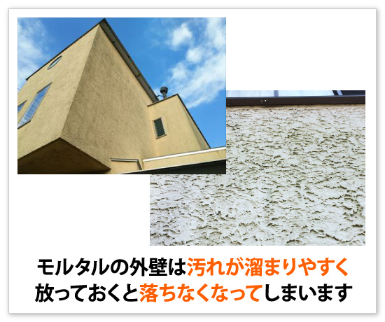 モルタルの外壁は汚れが溜まりやすく放っておくと落ちなくなってしまいます