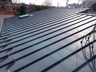 小金井市貫井北町にて立平葺き屋根材の塗装前点検にあわせ天窓のメンテナンスもご提案