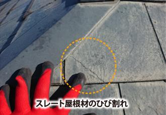 スレート屋根材のひび割れ