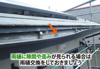 雨樋に隙間や歪みが見られる場合は雨樋交換しましょう