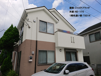 屋根:シェイドブラック-外壁:ND-174-1階色違い部:T5014