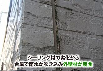 シーリング材劣化で台風により外壁材が腐食