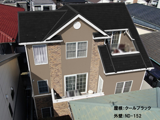 屋根:クールブラック 外壁:ND-152