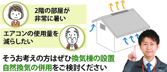 換気棟の設置・自然換気の併用をご検討ください