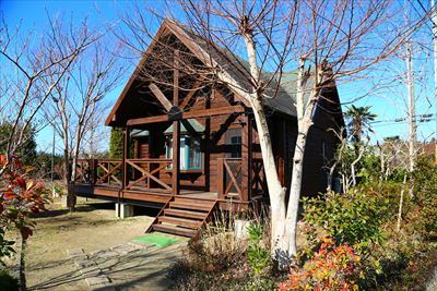 館山市でログハウスの別荘を防蟻塗料で塗装しました