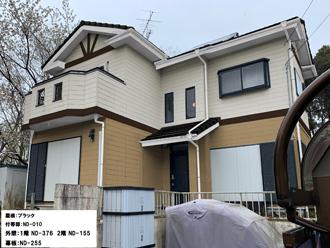 屋根:ブラック-付帯部:ND-010-外壁:1階-ND-376 2階-ND-155-幕板:ND-255