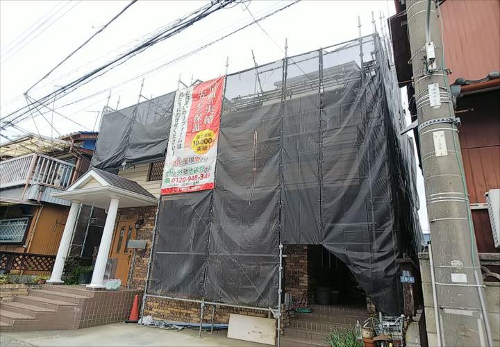 浦安市堀江 仮設足場の設置完了