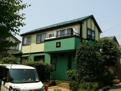 千葉市若葉区で外壁の模様を活かした塗り替え、エラストコート使用