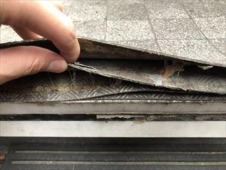 足立区花畑にて階段床面に設置されている長尺シートの点検、共用部モルタル床面の点検を行ないました