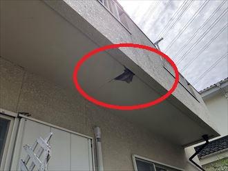 柏市高田にてベランダからの雨漏りにより軒天に穴が開いてしまった建物の調査を行いました