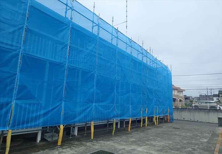 千葉市稲毛区 足場設置完了