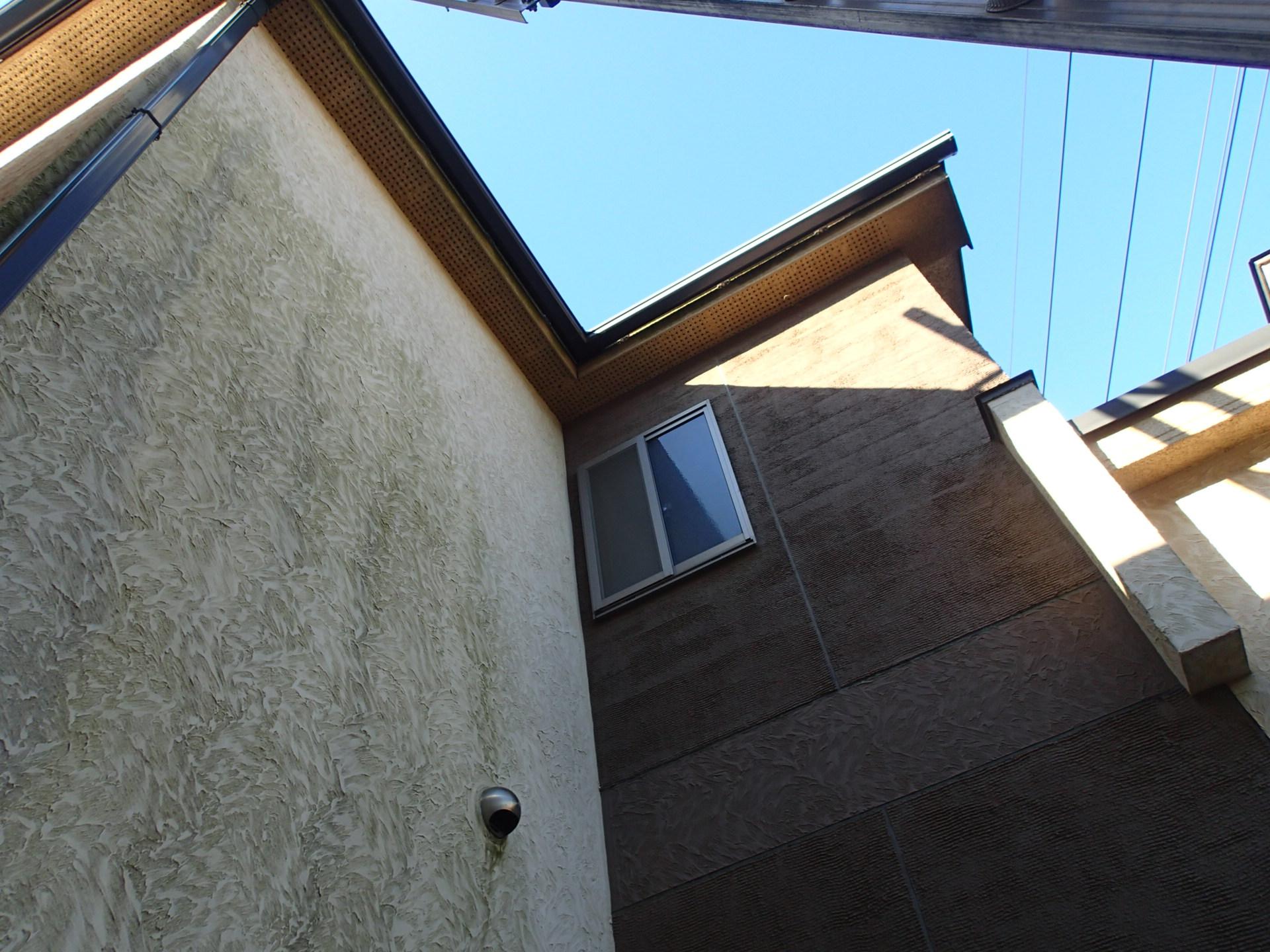 コケの発生したモルタル外壁