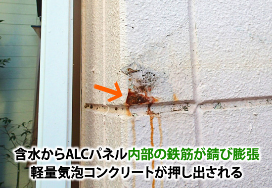 含水からALCパネル内部の鉄筋が錆び膨張、軽量気泡コンクリートが押し出される