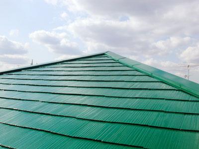 大網白里市|スレート屋根塗装、鮮やかな緑へイメージチェンジ(ルーフマイルドシリコン)