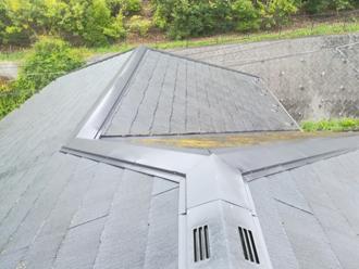 藻が目立つスレート屋根