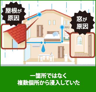 雨漏りは一か所ではなく複数個所から侵入することも