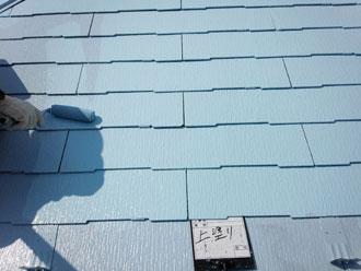 屋根塗装 上塗り サーモアイ4F クールベビーブルー