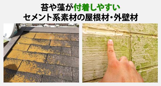 苔や藻が付着しやすいセメント系の屋根材・外壁材