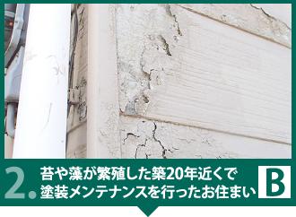 2.築20年近くで塗装メンテナンスを行った、苔や藻が繁殖した外壁