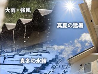 大雨・強風、真夏の猛暑、真冬の凍結のイメージ