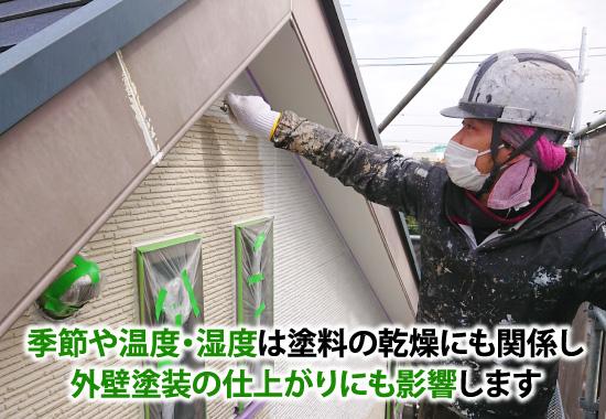 季節や温度・湿度は塗料の乾燥にも関係し外壁塗装の仕上がりにも影響します