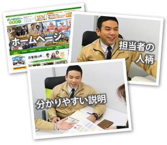 「ホームページ」「担当者」「説明風景」をイメージした写真