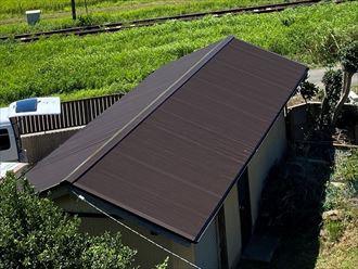 市原市村上にて台風で被害を大きくなる前にトタン屋根の張替・屋根塗装メンテナンスを実施
