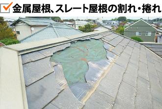 金属屋根、スレート屋根の割れ・捲れ