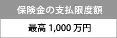 保険金の支払い限度は最高1,000万円