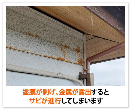 塗膜が剥げ、金属が露出するとサビが進行してしまいます