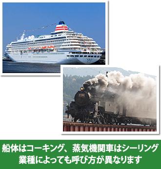 船体はコーキング、蒸気機関車はシーリングと業種によっても呼び方が異なります。