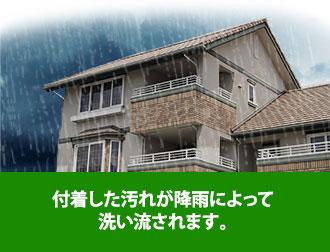 付着した汚れが降雨によって洗い流されます