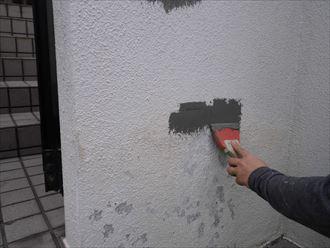 千葉県富里市|モルタル外壁Vカット補修