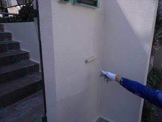 富里市屋根外壁塗装工事、擁壁塗装006
