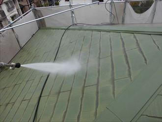 富里市外壁塗装、屋根塗装工事洗浄作業001