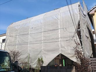 八千代市,外壁塗装,屋根カバー工事,足場,メッシュシート