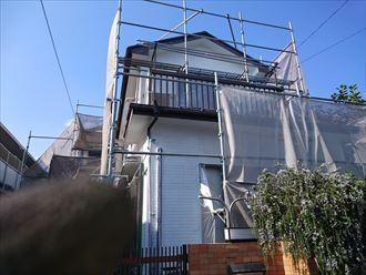 鎌ヶ谷市屋根外壁塗装足場洗浄下処理工事046