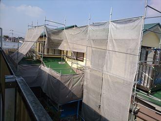 鎌ヶ谷市屋根外壁塗装足場洗浄下処理工事052