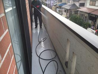 ベランダ防水工事,高圧洗浄