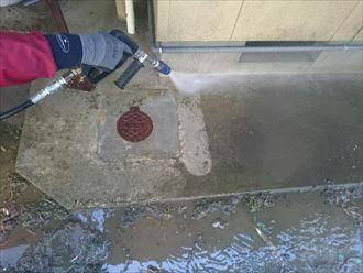 土間,高圧洗浄