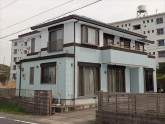 屋根外壁塗装,カラーシュミレーション,水色,ホワイト