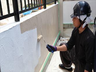 擁壁,中塗り