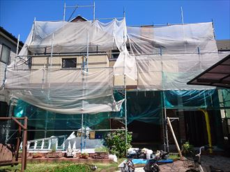 足場架設,屋根外壁塗装,メッシュシート
