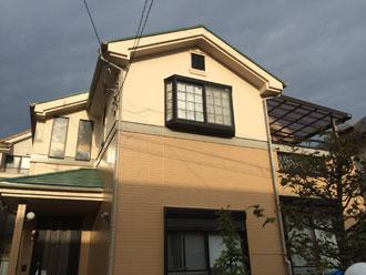 屋根塗装 ファインパーフェクトベスト ミラノグリーン 外壁塗装 パーフェクトトップ 1階:ND-343 2階:ND-460 付帯部塗装 ファインSi ND-184
